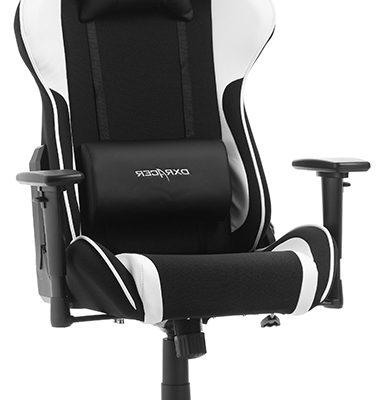 DXRacer Formula-series Game&Bureaustoel – Zwarte Stof – Wit PU | 8719172343748
