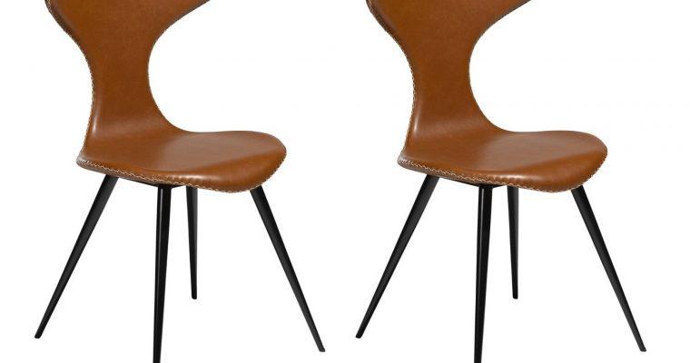 Dan-Form Dolphin Stoel – Set Van 2 – Lichtbruin Kunstleer – Zwarte Metalen Poten | 5710172069181