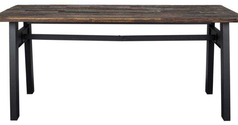 Dutchbone Crude Eettafel – L180xB90xD78 Cm – Houten Tafelblad – Zwart Metalen A-Frame | 8718548026612