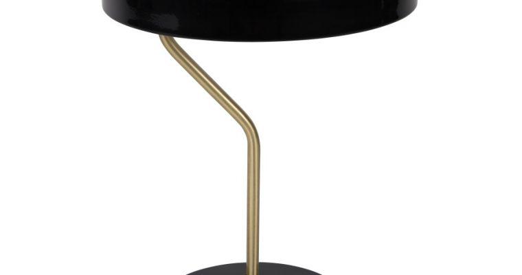 Dutchbone Eclipse Tafellamp -Ø30xH42 Cm – Zwart Metalen Kap – Messing Basis   8718548032736