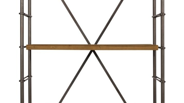 Dutchbone Iron Open Vakkenkast – B100xD42xH200 Cm – Hout En Metaal | 8718548023321