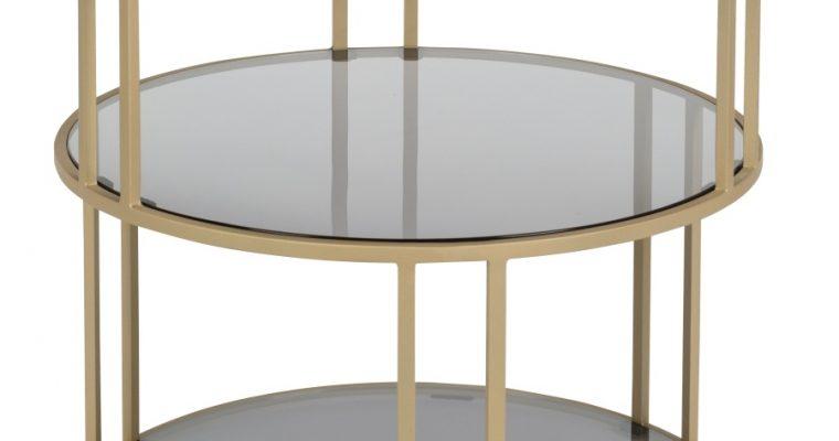 Dutchbone Torn Bijzettafel -Ø45×H47 Cm – Tafelblad Glas – Onderstel Metaal   8718548046696