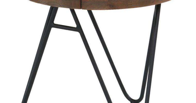 Hartman Sophie Full Moon Teak BijzettafelØ50 X H45 Cm – Vintage Bruin Teakhout – Zwart Aluminium   8711268545944