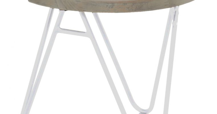 Hartman Sophie Half Moon Teak Bijzettafel L50 X B50 X H45 Cm – Lichtgrijs Teakhout – Wit Aluminium   8711268548075