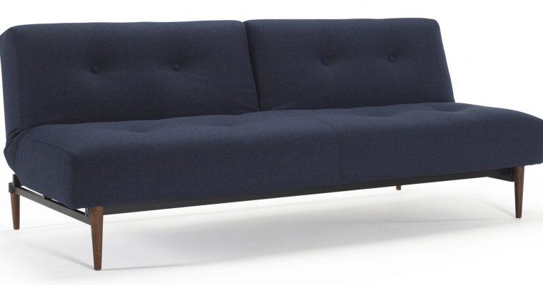 Innovation Slaapbank Ample – Styletto Poten Donker – Mixed Dance 528 – Blauw   8720143240362