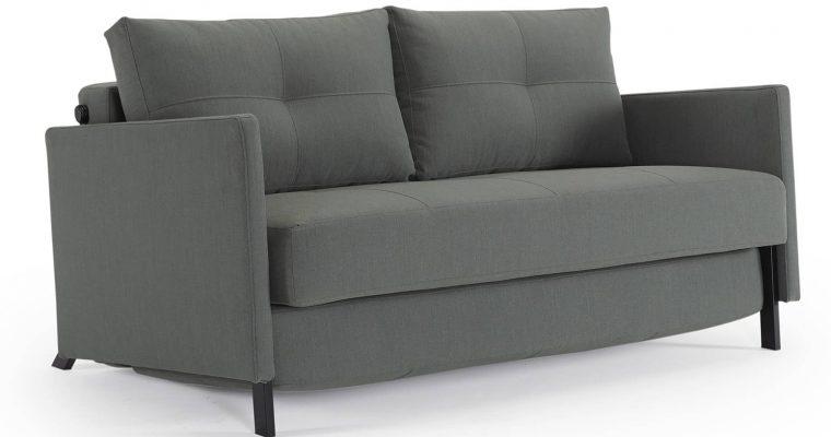 Innovation Slaapbank Cubed 140 Armleuningen – Elegance Green 518 – Zwart Metalen Poten | 8720143240263