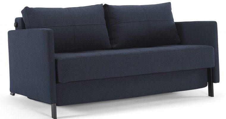 Innovation Slaapbank Cubed 140 Armleuningen – Mixed Dance Blue 528 – Zwart Metalen Poten | 8720143240539