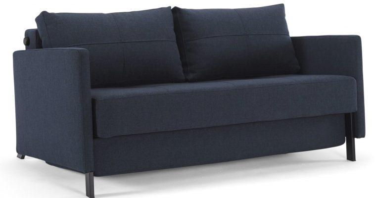 Innovation Slaapbank Cubed 160 Armleuningen – Mixed Dance Blue 528 – Zwart Metalen Poten | 8720143240133