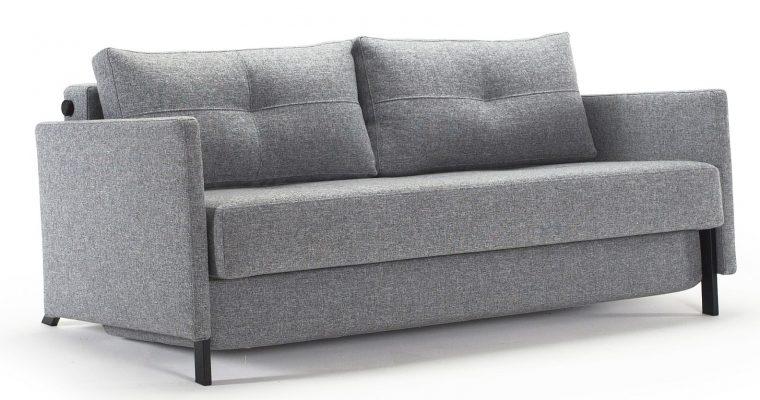 Innovation Slaapbank Cubed 160 Armleuningen – Twist 565 Grijs – Zwart Metalen Poten | 8720143240300