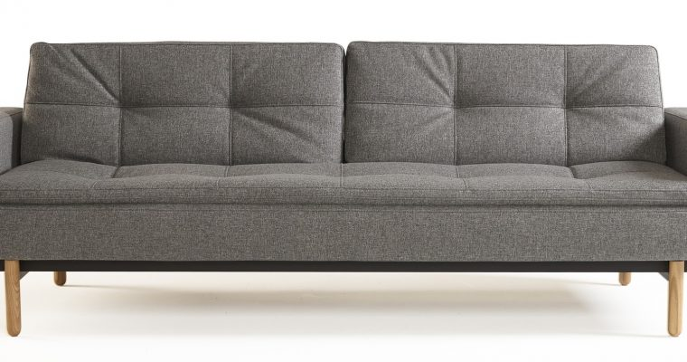 Innovation Slaapbank Dublexo Armleuningen – Stem Poten – Twist Charcoal 563 – Grijs | 8720143240485