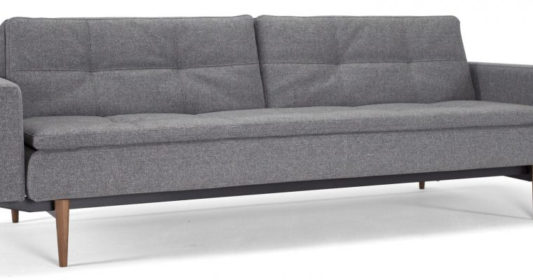 Innovation Slaapbank Dublexo Armleuningen – Styletto Poten Donker – Twist Charcoal 563 – Grijs | 8720143240508