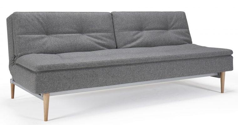 Innovation Slaapbank Dublexo – Styletto Poten Licht – Twist Charcoal 563 – Grijs | 8720143240492
