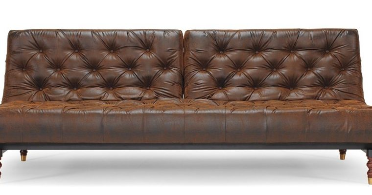 Innovation Slaapbank Oldschool – Leatherlook Vintage Brown 461 – Retro Houten Poten | 8720143240898