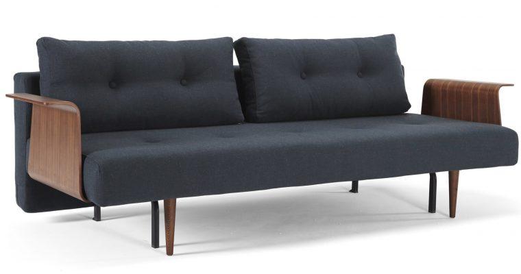 Innovation Slaapbank Recast Plus Armleuningen Walnoot – Nist Blue 515 Blauw – Donker Houten Poten | 8720143240454