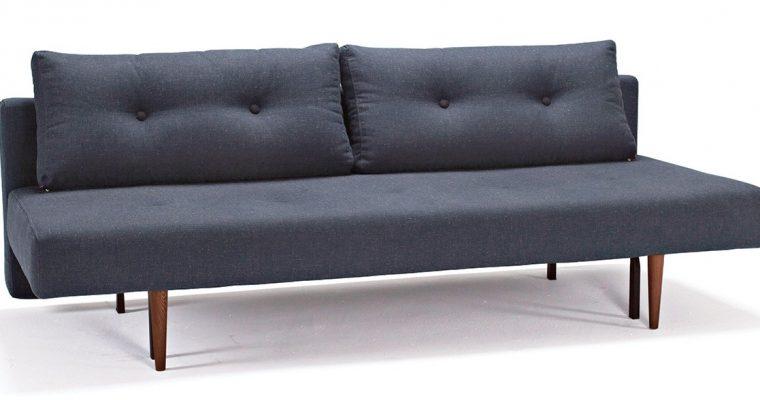 Innovation Slaapbank Recast Plus – Nist Blue 515 Blauw – Donker Houten Poten | 8720143240942