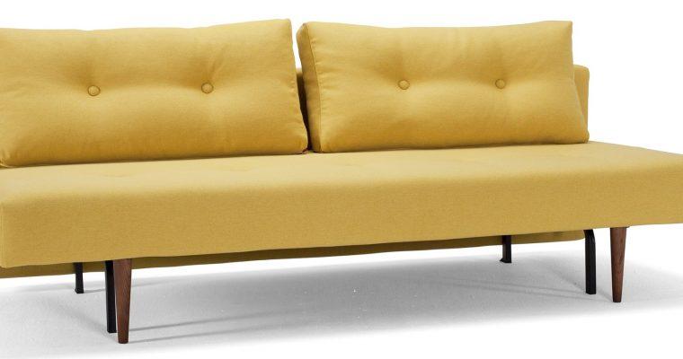 Innovation Slaapbank Recast Plus – Soft Mustard Flower 554 – Donker Houten Poten | 8720143240461
