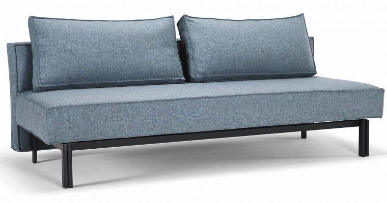 Innovation Slaapbank Sly – Mixed Dance Light Blue 525 – Mat Zwart Onderstel | 8720143240164