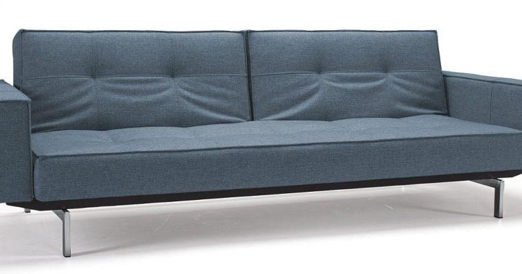 Innovation Slaapbank Splitback Armleuning – Mixed Dance 525 Lichtblauw – Chromen Poten | 8720143240980
