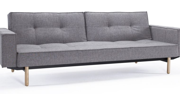 Innovation Slaapbank Splitback Armleuningen – Stem Poten – Mixed Dance 521 – Grijs | 8720143240386