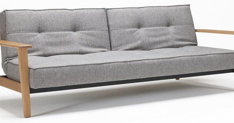 Innovation Slaapbank Splitback Frej Arm – Eikenhout – Mixed Dance 521 Grijs | 8720143240843