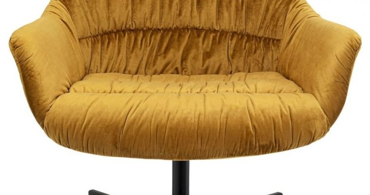 Kare Design Bristol Draaibare Fauteuil – Okergeel Fluweel – Zwarte Metalen Kruispoot | 4025621800286