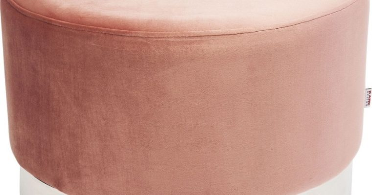 Kare Design Cherry Poef -Ø55×35 – Roze Fluweel – Zilver | 4025621845300