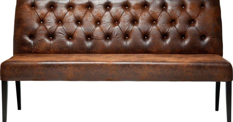 Kare Design Eetbank Econo Buttons Vintage – Breedte 162 Cm – Kunstleer Bruin | 4025621776321