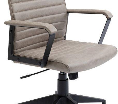 Kare Design Labora Low Bureaustoel – Lage Rugleuning – Kiezelgrijs Vintage Kunstleer | 4025621847397