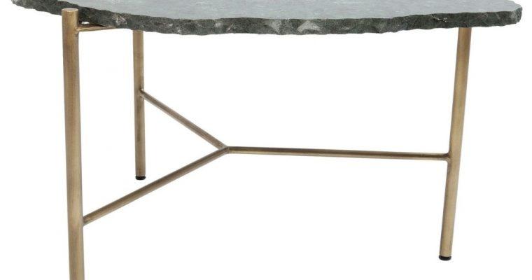 Kare Design Piedra Salontafel – 76x72x43cm – Groen Marmeren Tafelblad – Goud Onderstel | 4025621835127