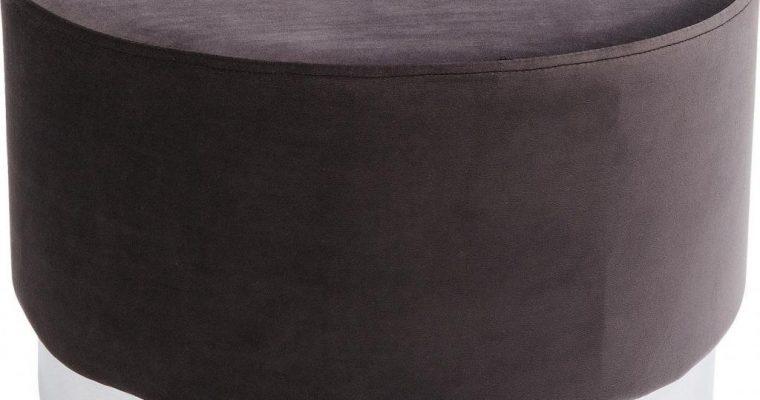 Kare Design Poef Cherry -Ø55×35 – Donkergrijs Fluweel – Zilver | 4025621831242