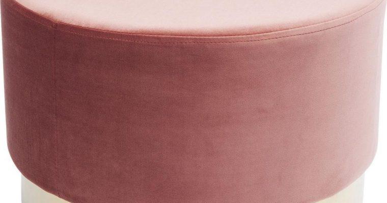 Kare Design Poef Cherry -Ø55×35 – Roze Fluweel – Messing | 4025621831259