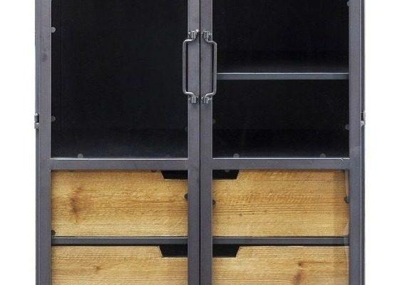 Kare Design – Refugio Vitrinekast 2-Deurs – 60x40x156 – Vintage Metaal | 4025621837510