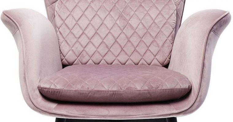Kare Design Tudor Fauteuil – Fluweel Roze – Zwarte Houten Poten | 4025621844266