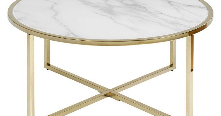 Kare Design West Beach Salontafel -Ø80×45 – Glazen Blad Marmerlook – Goud Metalen Onderstel | 4025621848448
