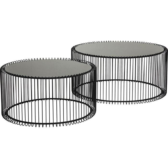 Kare Design Wire – Set Van 2 Salontafels – Zwart Glazen Tafelblad | 4025621795773