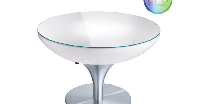 Moree – Ronde Salontafel Lounge – Hoogte 55 Cm LED Accu Outdoor – Wit | 4260218362673