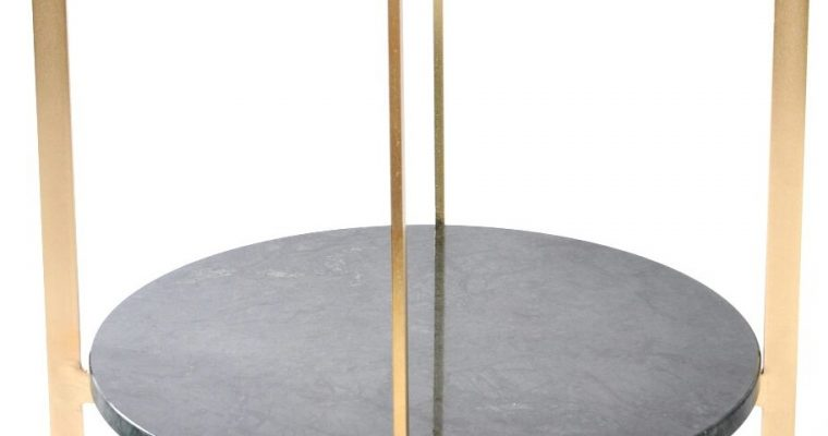 OxDenmarq Deck Bijzettafel – 57 X H67 Cm – Messing Frame – Messing Tafelblad – Groen Marmer |