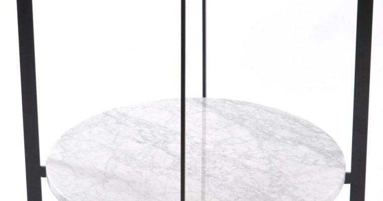 OxDenmarq Bijzettafel Deck – Zwart Frame – Messing Tafelblad – Wit Marmeren Plaat  
