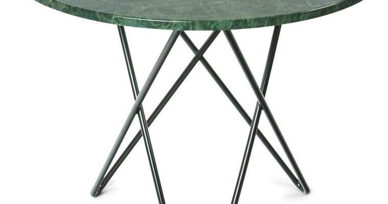 OxDenmarq Tafel Dining O Rond – Diameter 80 X H72 Cm – Tafelblad Groen Marmer – Zwart Metaal  