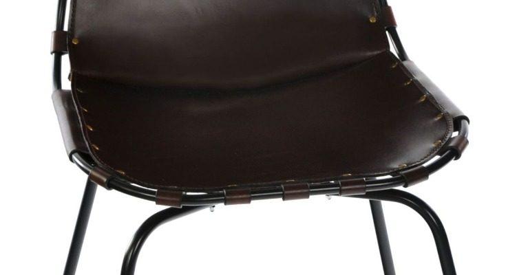 OxDenmarq Stoel Stretch – Zwart Stalen Onderstel – Leer – Mocca |