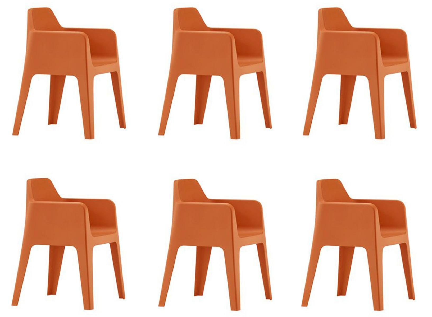 Pedrali Plus 630 Tuinstoel – Set Van 6 – Oranje | 8719323475588