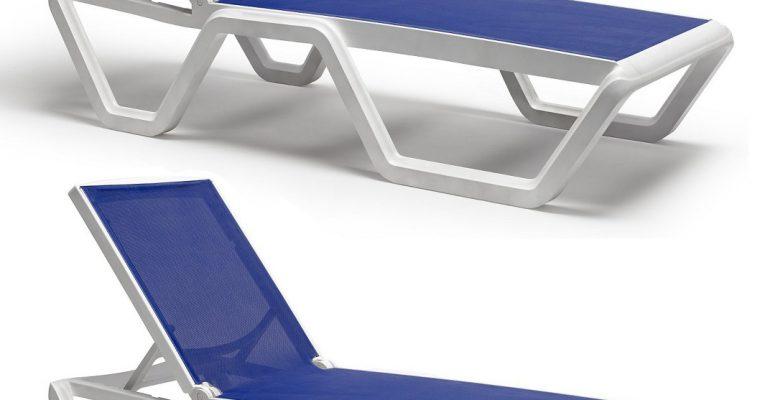 SCAB Vela Verstelbaar Ligbed Met Wielen 194x69x43 – Set Van 2 – Wit – Blauwe Stof | 8720195952374