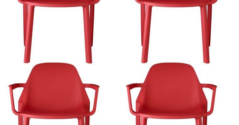 Set 4 SCAB Design Stoelen PIÙ Armleuningen – Rood | 8005733233536