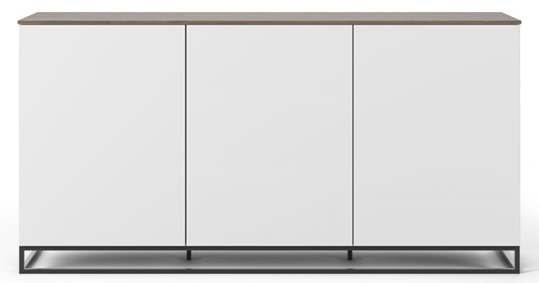 TemaHome Join 180H2 Dressoir – 3 Deuren – Mat Wit/Walnoot – Metalen Poten | 8720143248115