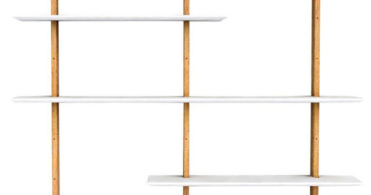 Tenzo Bridge Wandmeubel B162 X D25 X H190 Cm – Wit Met Hout | 8720195954620
