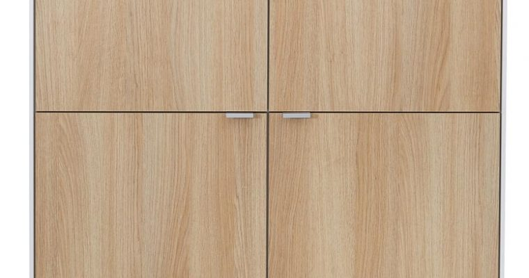 Tenzo Cello Opbergkast 4-Deurs – 98x43x134 – Wit/Eiken – Aluminium Poten | 8720195954460