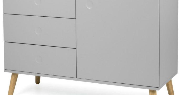 Tenzo Dressoir Dot 1-Deurs 3-Laden B109 X D43 X H79 Cm – Grijs – Eiken Poten   7394084072255