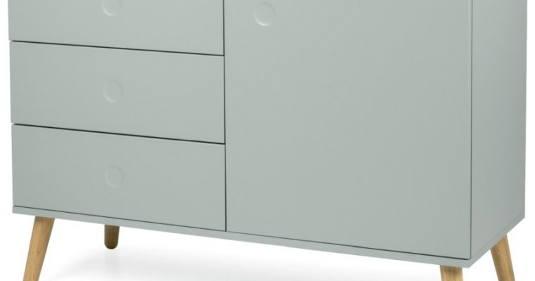 Tenzo Dressoir Dot 1-Deurs 3-Laden B109 X D43 X H79 Cm – Saliegroen – Eiken Poten | 7394084072262