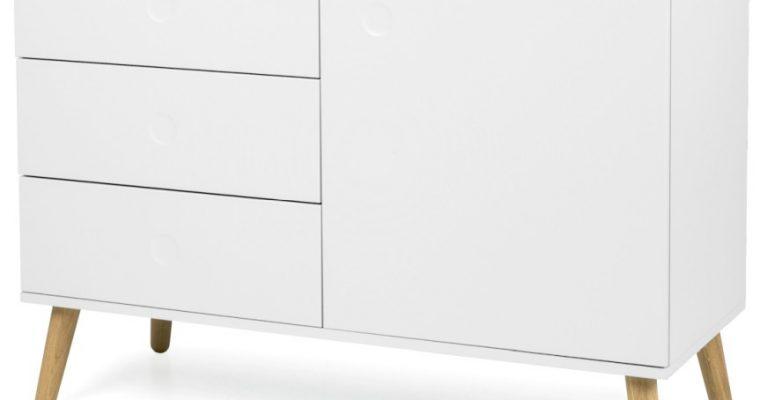Tenzo Dressoir Dot 1-Deurs 3-Laden B109 X D43 X H79 Cm – Wit – Eiken Poten | 7394084072248
