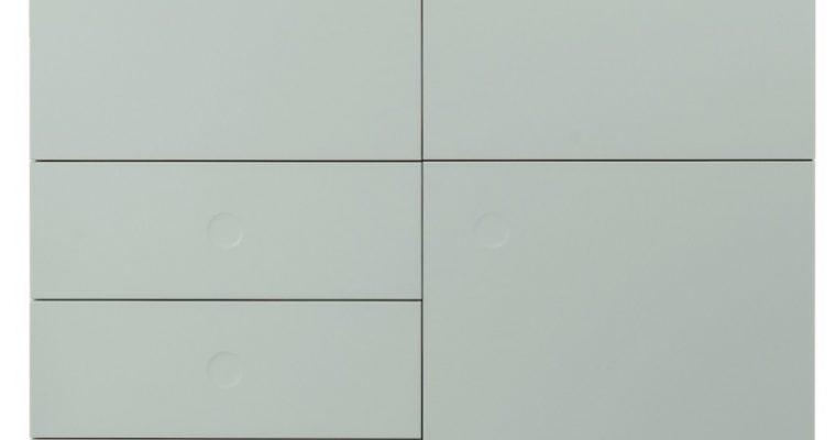 Tenzo Opbergkast Dot 3-Deurs/3-Laden – 109x43x137 – Saliegroen – Eiken Poten | 7394084072323